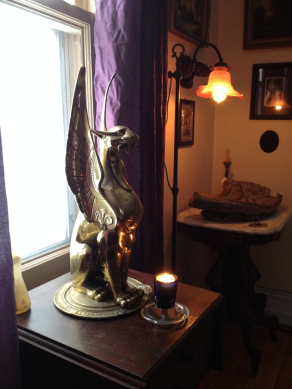 This winged lion used to sit on a column inside the store next to one of the front windows.