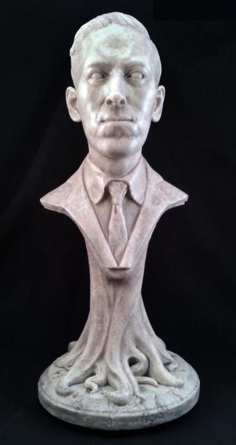 One of the Kickstarter rewards, a bust of H.P. Lovecraft.
