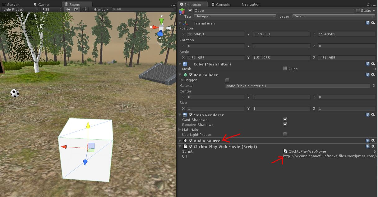How to embed and play a video on an object in Unity3d and Jibe | Be