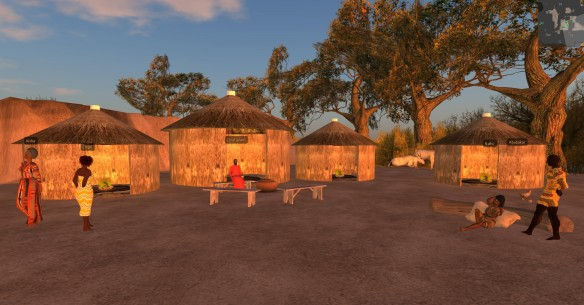 A whole village of NPCs in the East Africa Traveler Safety Simulation