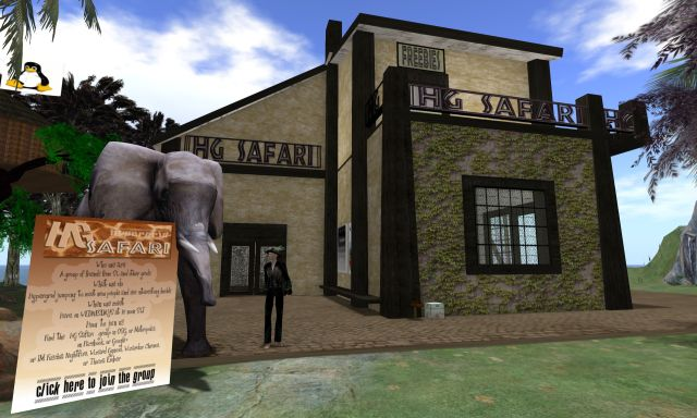 Outside the Hypergrid Safari HQ and Clubhouse on the region Teravus in OSGrid.