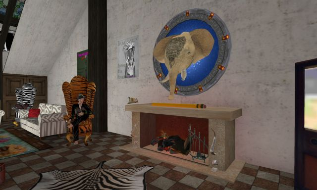 Inside the Hypergrid Safari Clubhouse. I love the elephant trophy mounted on an old hypergate.
