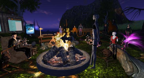 The Hypergrid Safari group having a campfire chat on Pathlandia.